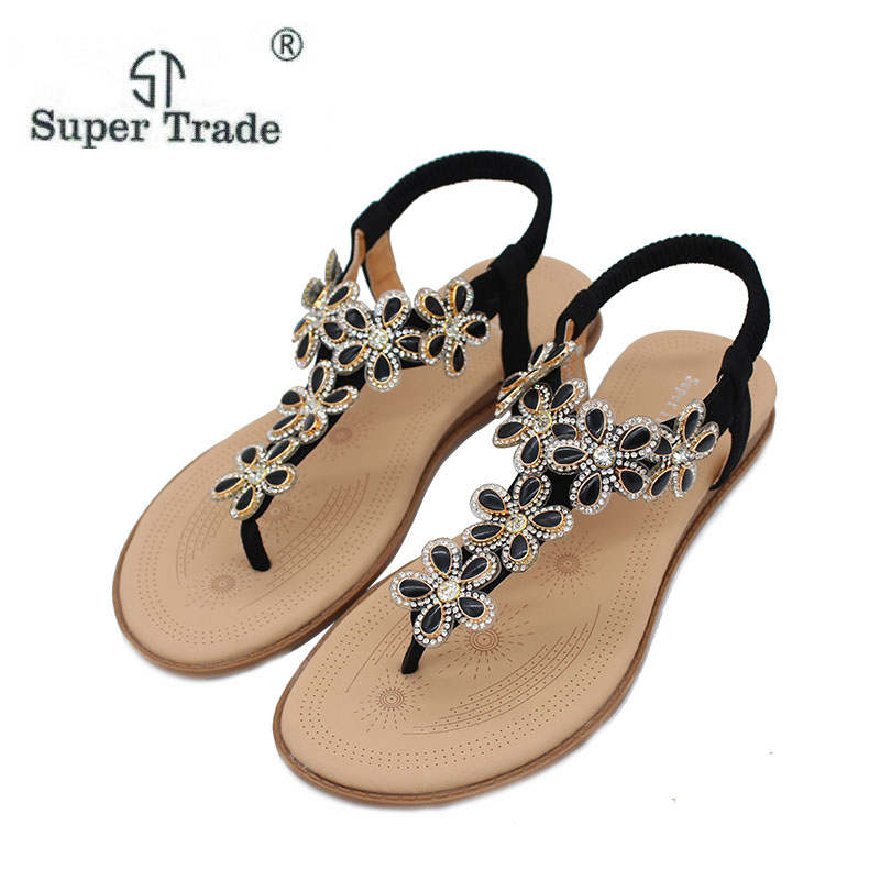 New Arrival 2017 Women Sandals Beaded Ladies Flip Flops Bohemia Woman Shoes Comfort Beach Summer Flat Sandals Flat Shoes Woman