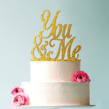 You & Me Wedding Cake Topper, Script and Elegant Topper