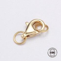 Echt 18 karat gold Stil Karabinerverschlüsse Jump Ringe Split Ring, Der Haken Perlen Crimp Ende Frühling Halskette Snap ketten Anschluss