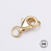 Real 18K gold Style Lobster Claw Clasps Jump Rings Split Ring Making Hook Beads Crimp End Spring Necklace Snap Chains Connector