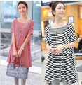 Maternity clothing summer one-piece dress mm short-sleeve maternity top fashion maternity stripe one-piece dress
