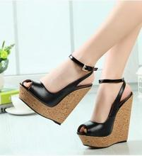 Ultra Big Size Women Sandles Girls Wedge Plus Size Platforms Pumps Ultra High Heel Shoes Summer Fashion  Buckle Peep Toe Shoes