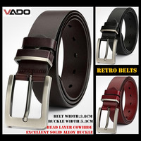 VADO Top end 38mm Width Men 100% Head Layer Cowhide Genuine Leather Retro Belts,Needle Buckle Business Waistband,with Gift Box