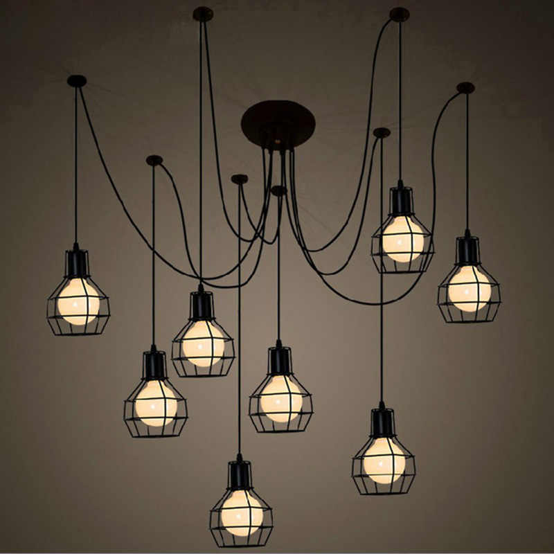 Арт-деко железная подвесная клетка для осветительного прибора креативный DIY Droplight Art Spider подвесной светильник, E27, 110 V 220 V ~ 240 V
