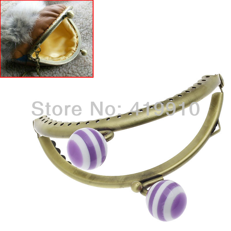 Buckles & Hooks Free Shipping-3pc Metal Frame Kiss Clasp Arch For Purse Bag Lock Handle Antique Bronze Purple&white Resin Ball 8.5 X 7cm J2570