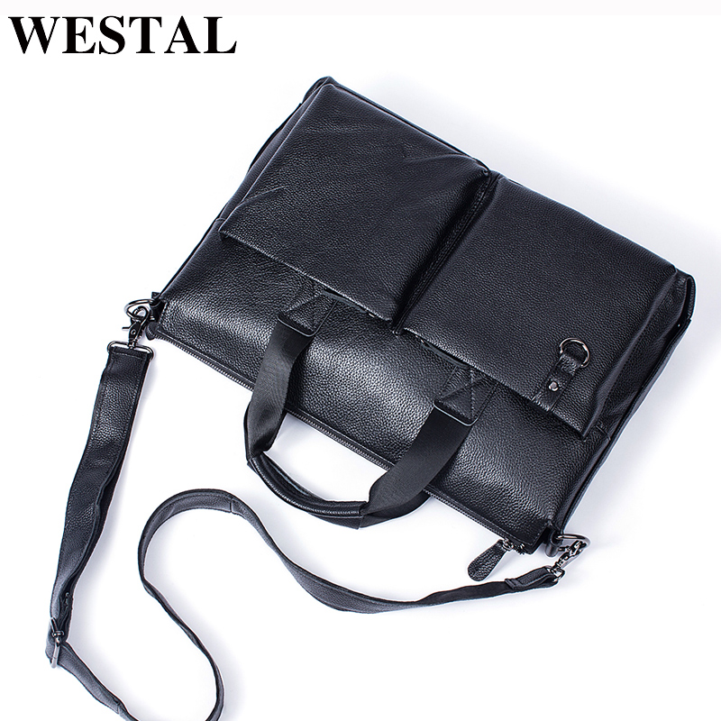 WESTAL Men Briefcase with Handle Genuine Leather Shoulder Laptop Bag 15inch office bags Men Leather Briefcase Black Handbags