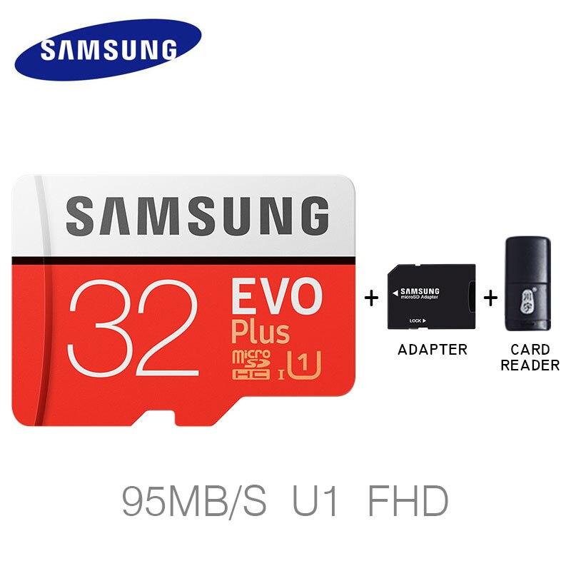 D'origine Samsung nouvelle arrivée carte mémoire 32 gb 64 gb 128 gb EVO + haute vitesse micro sd carte 95 M/S sûr pour téléphone/comprimés avec adaptateur