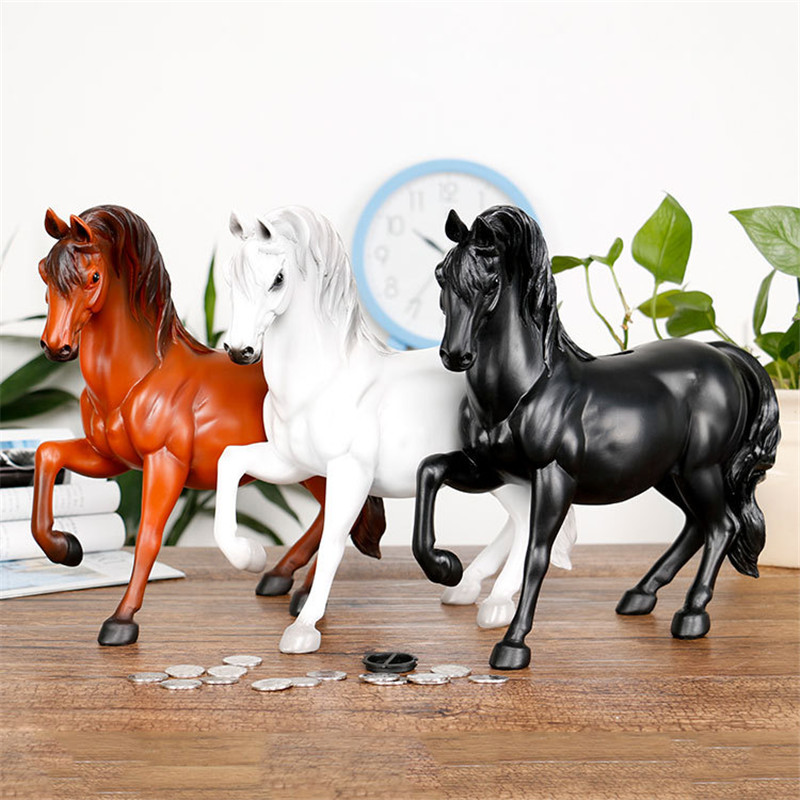 Cute Simulation Horse Animals Piggy Bank Colophony Crafts Cartoon Home Decorations Collectible Kids Gift ToyL1978