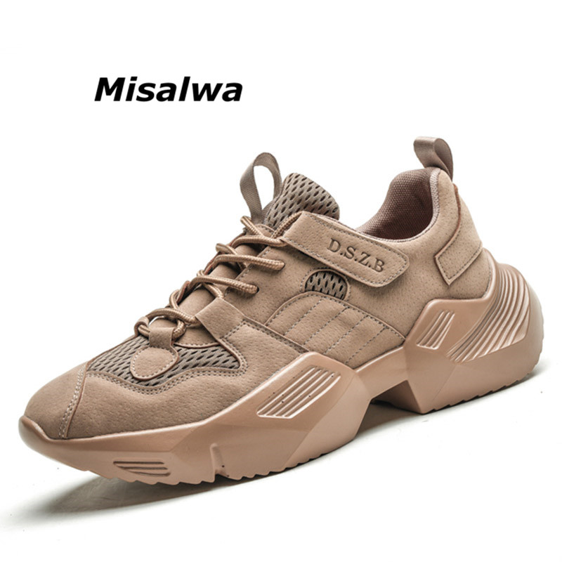 Misalwa British Style Sneakers Men Black Khaki Grey Lace Up Autumn Shoes Hard Wearing Breathable Casual