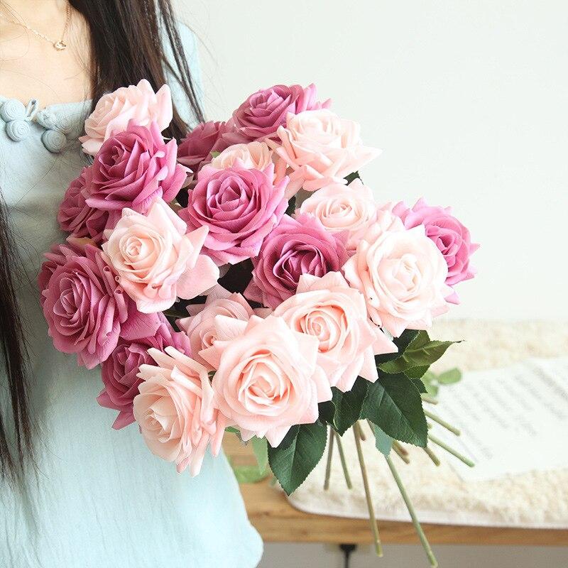 1//5PCs Artificial Rose Silk Flowers Floral Fake Craft Valentines Wedding Bouquet