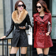 Women Large Size Winter Autumn Long Sheep Skin Leather Jacket Rabbit Fur Collar Double Breasted Casual Leather Coat & Belt J266