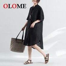 Original artistic womens summer fat MM loose large size shirt skirt long cotton and linen pocket short sleeve dress 309