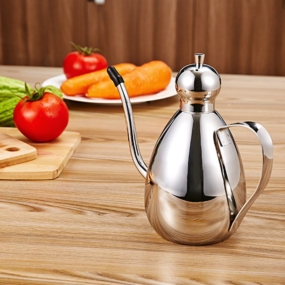 Stainless Steel Oil Dispenser Olive Vinegar Batcher Can Bottle Pot