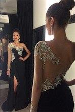 Abendkleid Vestido De Festa 2016 Elegant Eine Schulter Schwarze Formale Abendkleider Nach Maß Kristall Party Kleider