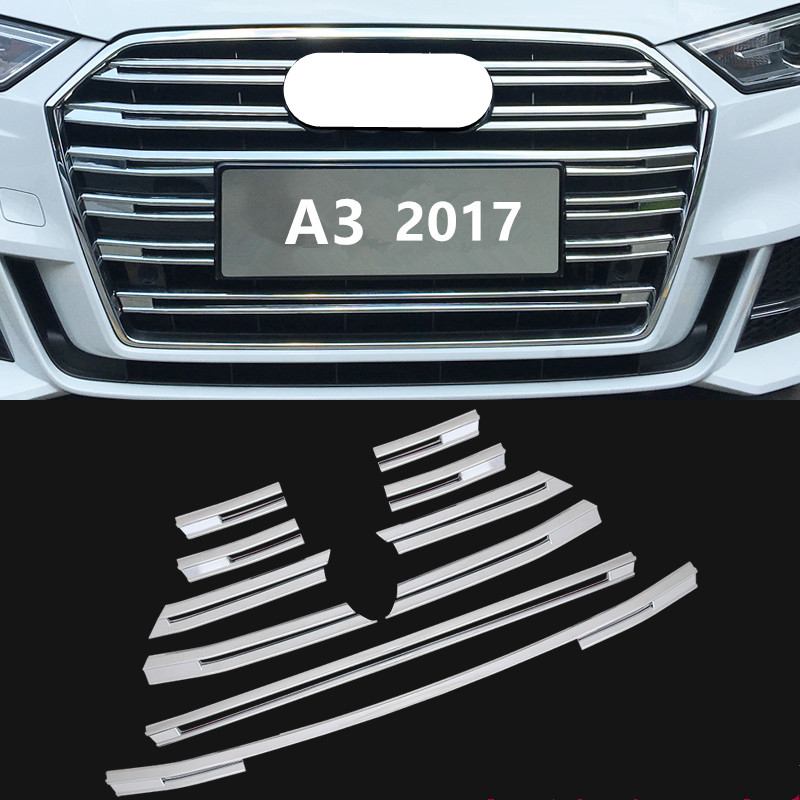 FUWAYDA  Chrome ABS Front Grille Decorative Cover Trim Strips 10pcs For Audi A3 2017 Car Styling Bumper decoration Decals for mazda 3 axela 2014 2015 2016 abs chrome front grille trim center grill cover around trim car styling accessories 11 pcs set