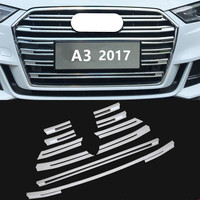 FUWAYDA Chrome ABS Front Grille Decorative Cover Trim Strips 10pcs For Audi A3 2017 Car Styling Bumper decoration Decals