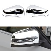 For Mercedes Benz W176 A W246 B C117 CLA W221 S GLA Class Rearview Side Wing Mirror Cover ABS Chrome Molding Trim