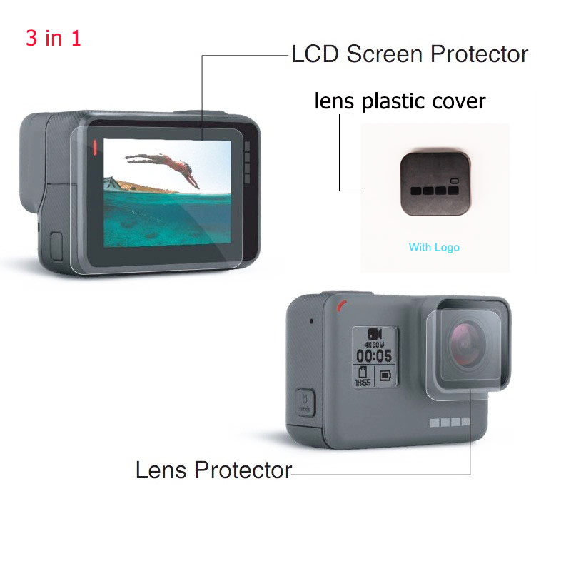 For Gopro hero 5 hero 6 Accessories lens Screen Protector Cover Lens Protecive Film With Logo