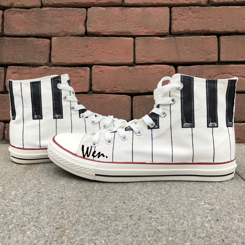 Wen New Arrival Hand Painted Shoes Design Custom Piano Keys Men Women's High Top White Canvas Sneakers for Gifts wen blue hand painted shoes design custom shark in blue sea high top men women s canvas sneakers for birthday gifts