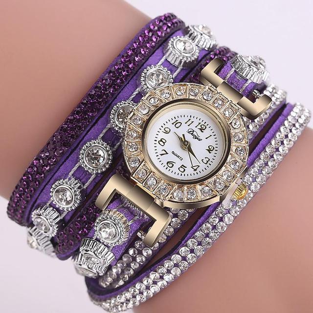 Quartz wristwatches Reloj Mujer Rhinestone Bracelet Watch Fashion Casual Clock W