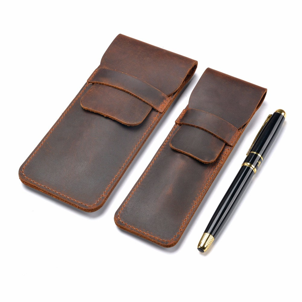 Handmade Genuine Leather Pen Bag Cowhide Pencil Bag Vintage Retro Style Accessories For Travel Journal Free Shipping