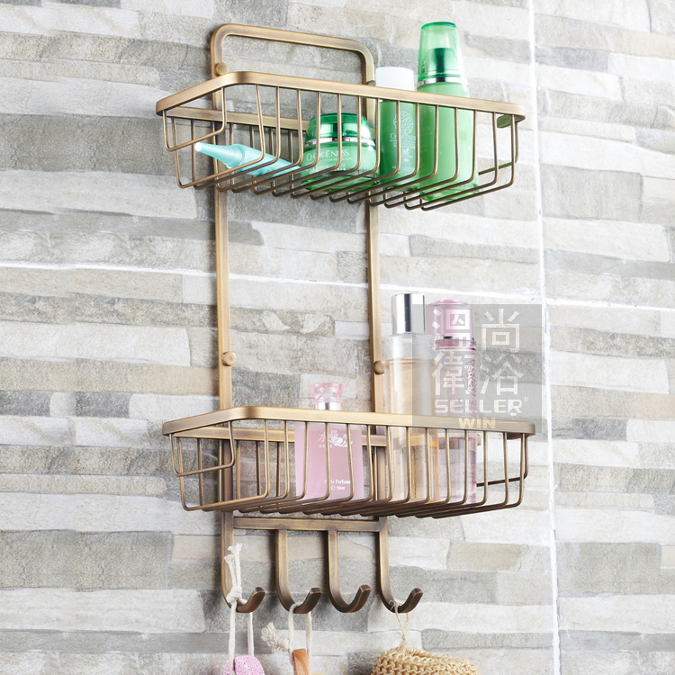 Superior Free Shiping Antique Bronze Copper 2 Tier Bathroom Organizer Shower Caddy  Decorative Wall Shelves With ...