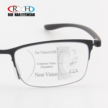 안티 블루 레이 프로 그레시브 안경 독서 노안 안경 패션 프레임 클리어 렌즈 추가 + 1.00 ~ + 3.50 다 초점 안경