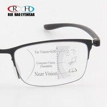 Gafas de lectura antirayos azules para presbicia, lentes transparentes con montura de moda con + 1,00 ~ + 3,50, gafas multifocales