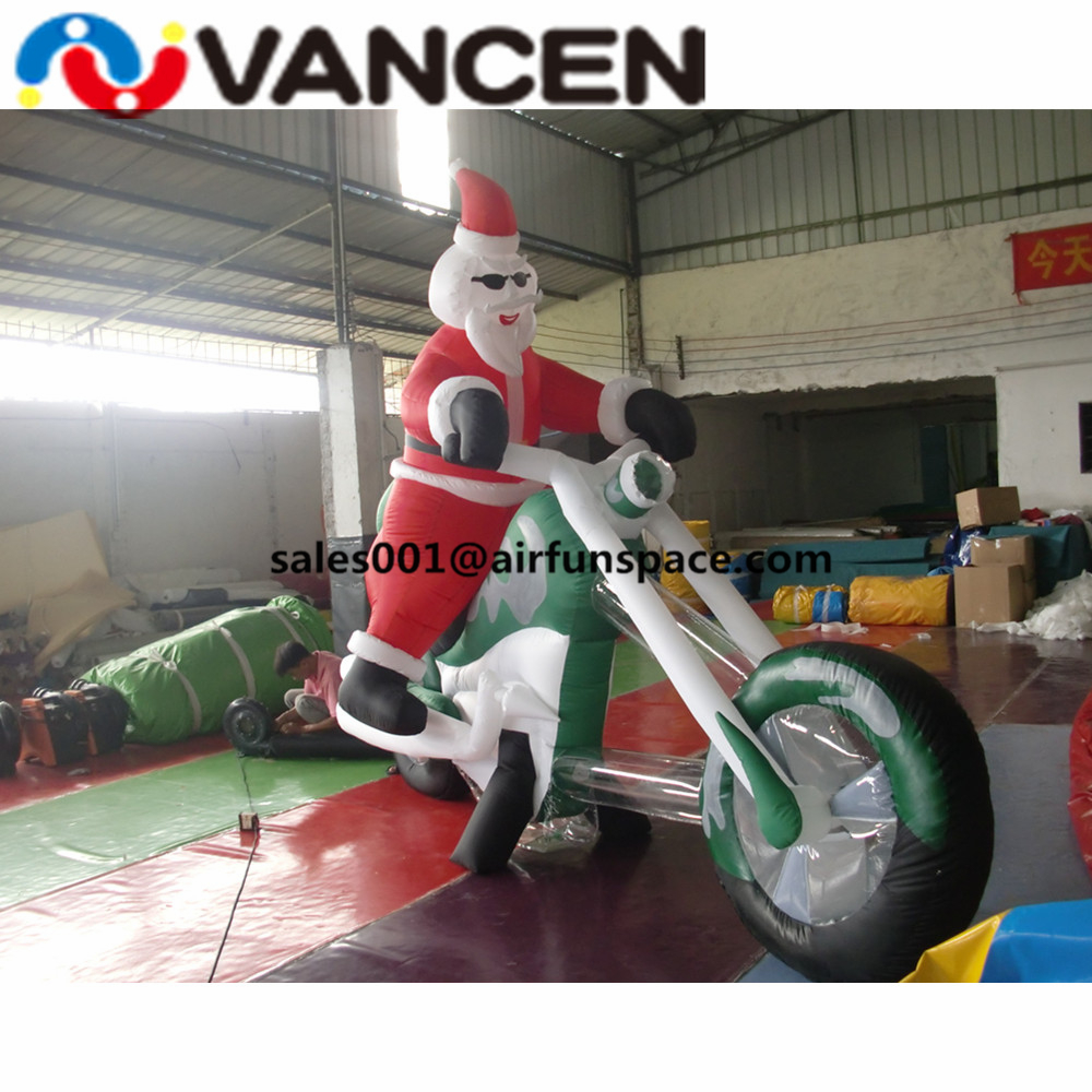 Новый стиль Рождество надувной Санта Клауса с мотоциклом минимумы цен надувной Рождественский Санта Клауса Подарок для рекламы