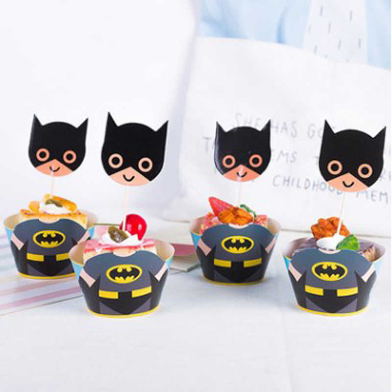 24pcs/lot Decoration Happy Birthday Party Kids Boys Child Favors batman Theme Cake Bake Wrappers Cupcake Toppers Event Supplies