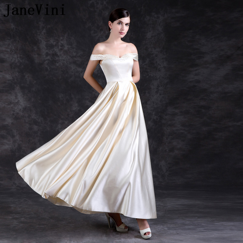 JaneVini 2018 Long   Bridesmaid     Dresses   A Line Off The Shoulder Pearls Backless Elegant Champagne Satin Prom Gowns Floor Length