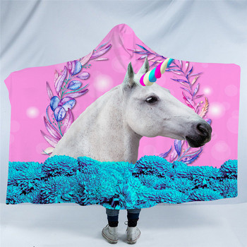 3d Unicorn Fleece Hooded Blanket