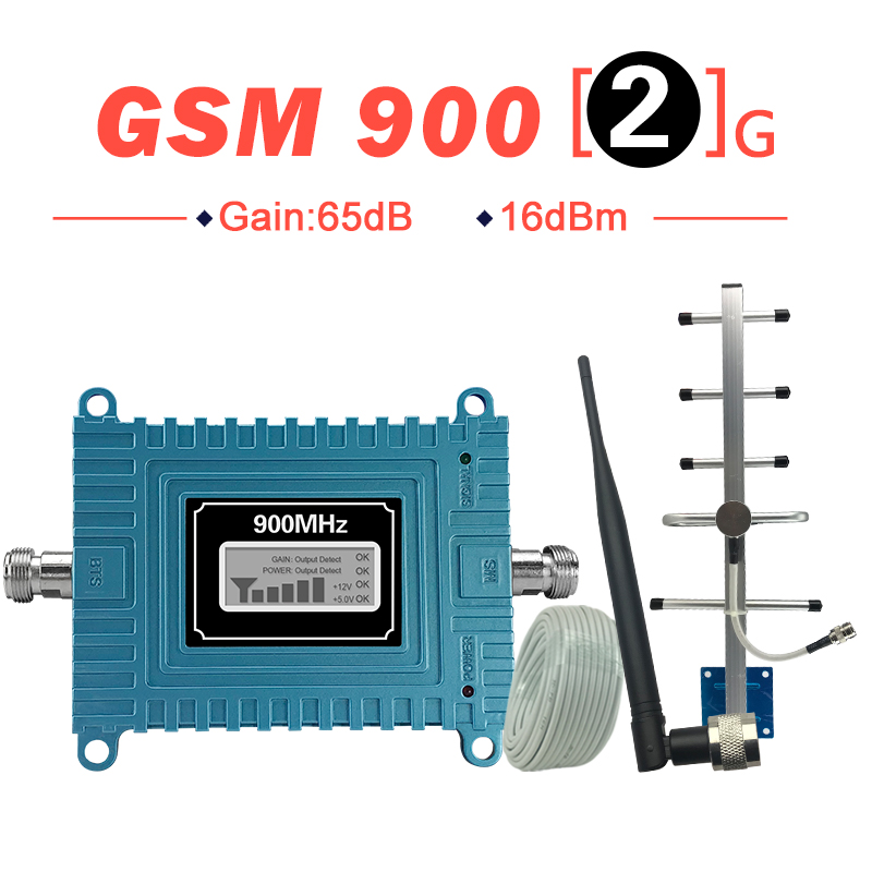 Walokcon 65dB Gain GSM Repeater 900mhz GSM Signal Booster Mobile Cellular Amplifer GSM 900 Yagi Antenna Set Beeline Home Office