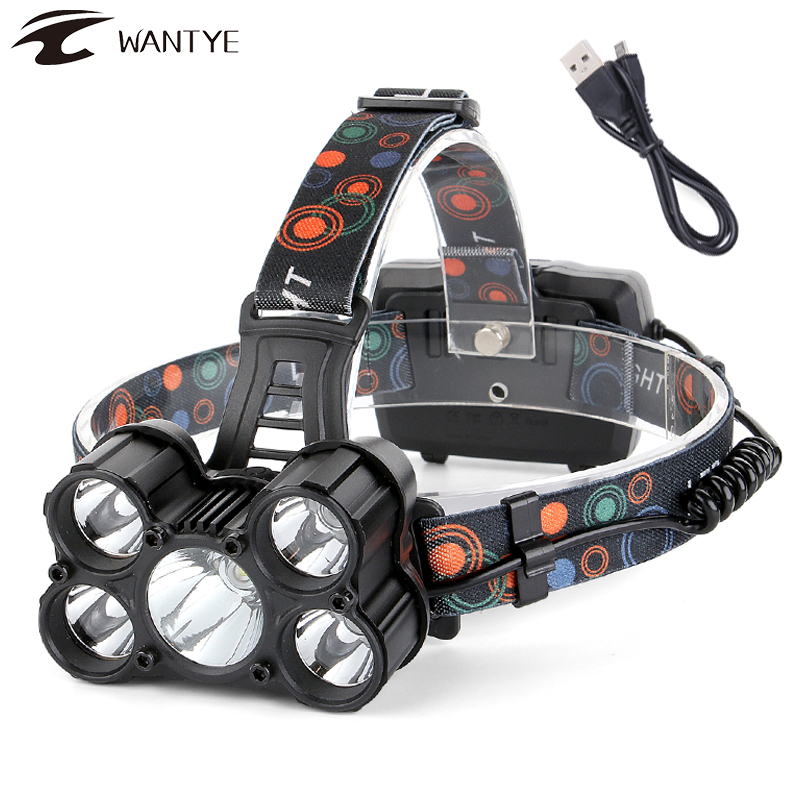 New 35000LM 5x CREE XM-L T6 LED Headlamp Headlight Rechargeable Head Torch Lamp