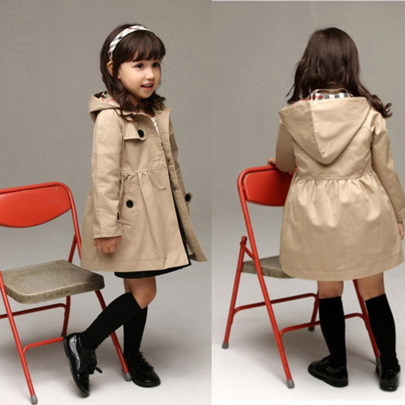 932c083165ad Fashion Trench Coat Girls Jackets hooded Trend Style coats for Girl ...
