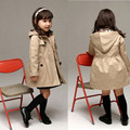 Fashion Trench Coat Girls Jackets hooded Trend Style coats for Girl 3-13Y Kid clothes Long Sleeve Spring/Autumn Children outwear