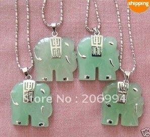 Ювелирные изделия 4 шт натуральный зеленый камень слон кулон ожерелье 4 шт./лот Цепочка