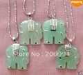 real jade jewelry 4Pcs Natural Green Jade Elephant Pendant Necklace 4pc/lot free shipping free chain
