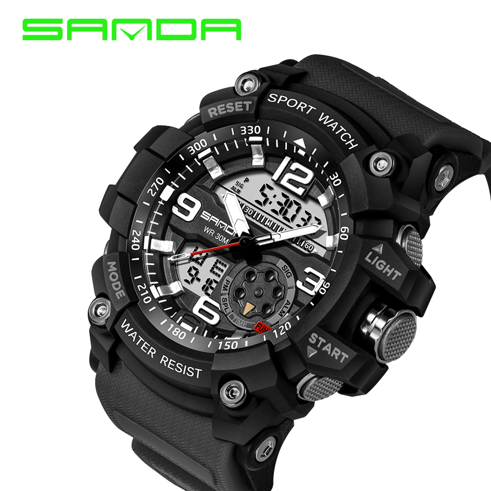 SANDA Brand Fashion Men Military Sports Watches Digital LED Electronic Analog Quartz Watches Waterproof Watch Relogio