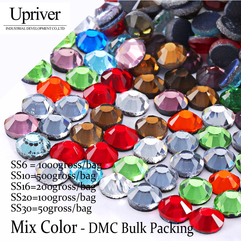 Массовая упаковка Best качество блестящие Стекло оптовая продажа Размеры SS6 SS10 SS16 SS20 SS30 смешивания Цвет исправление Стразы