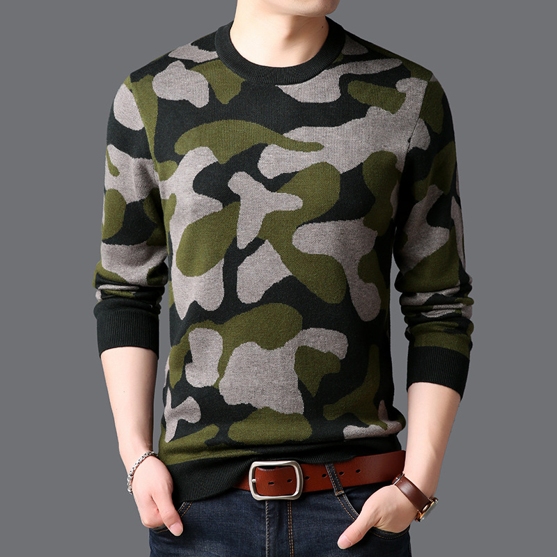 ICPANS 2019 Winter Thick Warm Cashmere Woolen Pullovers Sweaters  Sweater Men Camouflage Pattern O-Neck Pullover Men Clothes