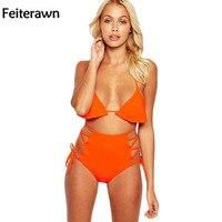 Feiterawn 2017 Bademode Frauen Beachwear Orange Halter Lace Up Hohe Taille Badeanzug Badeanzug Zweiteiler Bikini Set DL410033