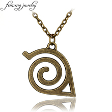 feimeng jewelry Anime Naruto Necklace Bronze Hidden Leaf Village Symbol Pendant Necklace For Men Fashion Cool Accessories