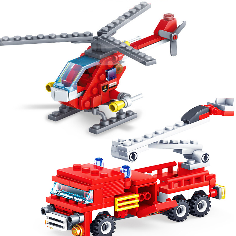 KAZI-80512-City-Fire-Fighting-Car-Helicopter-Boat-Building-Blocks-LegoINGlys-Fire-Fighter-Bricks-Lepin-Technic (2) -