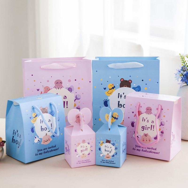 Cartoon Baby Birth Gift Bag Full Moon Banquet Supplies Paper Boxes Children Birthday Party Favors And Gifts Packaging Candy Box