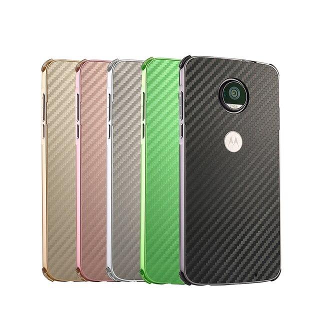 Luxury Aluminum Metal Frame Bumper Case For Motorola MOTO G5 Plus Z2 Force Z Play X4 E4 Plus Carbon Fiber Back Cover 2 in 1 Case