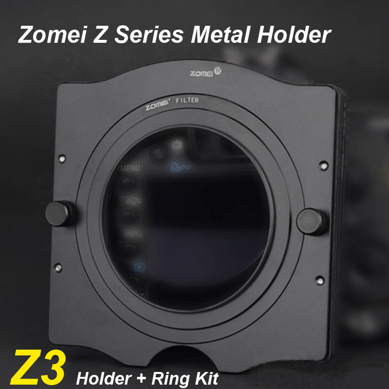 Zomei 100mm Metal Square 3 Slot Filter Holder Support 67mm 72mm 77mm 82mm Adapter Ring Kit