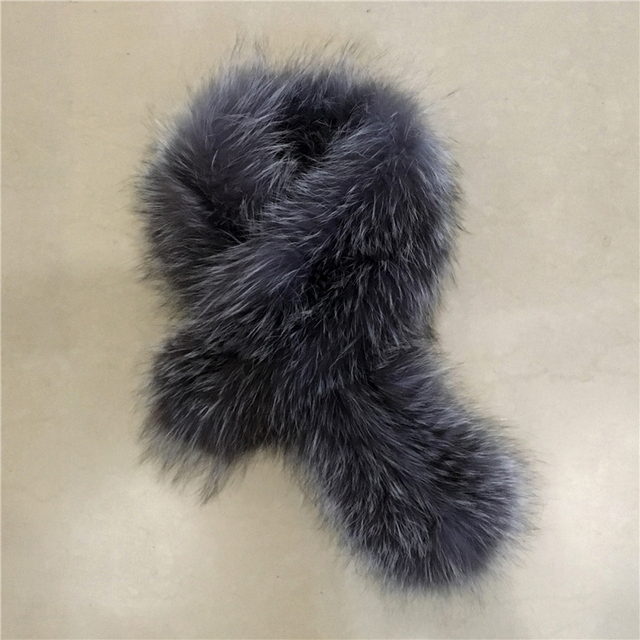 90CM Natural Silver Fox Winter Women's Real Fox Fur Scarf Fox Stole Fur Collar Scarves Collar Soft Fur Scarf Neck Warmer L
