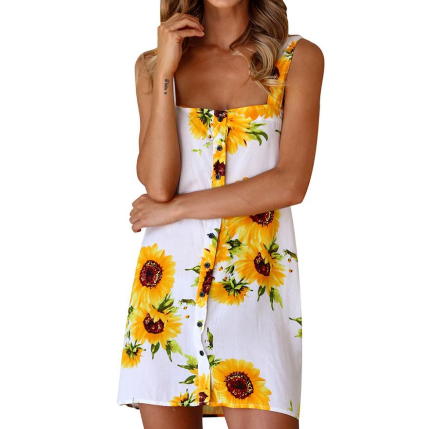 Feitong Boho Style Dress Womens Summer 2018 Sleeveless Dress Ladies Floral Print Button Everything Party Mini Dress