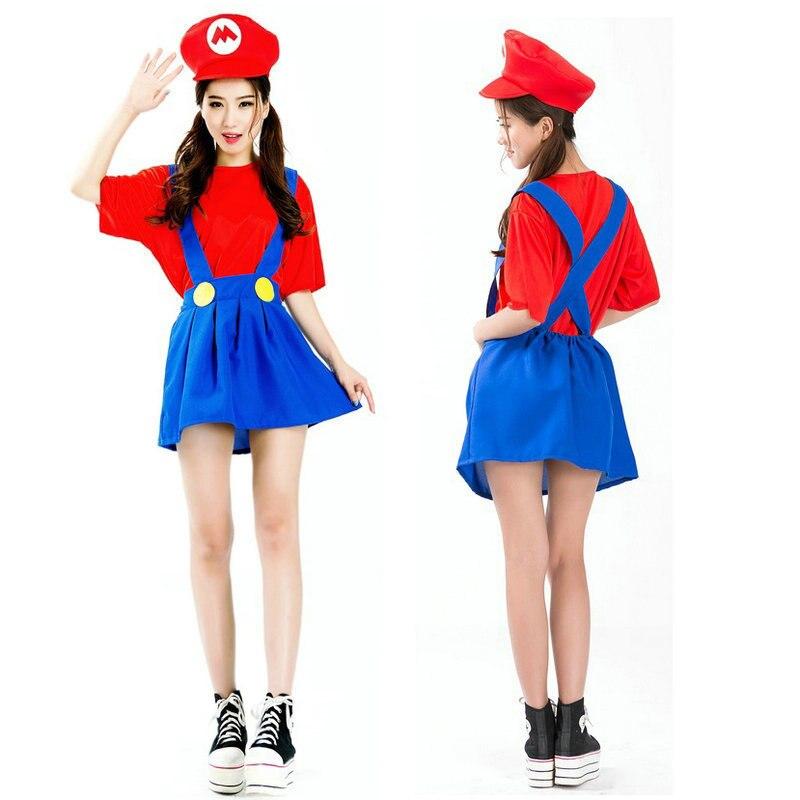 Super Mario Luigi Bros Costume Women Sexy Plumber Costume Adult Mario Bros Cosplay Costume Fancy Dress